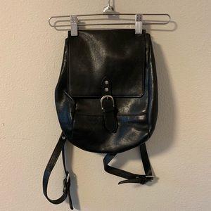 Vintage Black Leather Mini Backpack